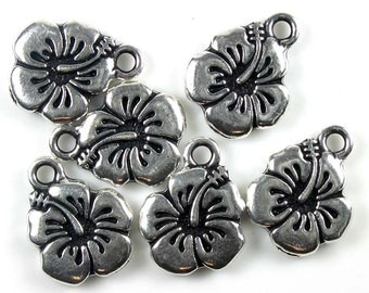 20 Silver Tierracast Hibiscus Flower Charms