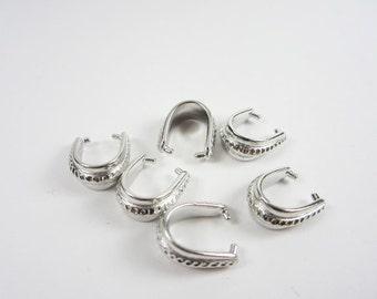 6 Tierracast Silver Large Hammertone Pinch Bails