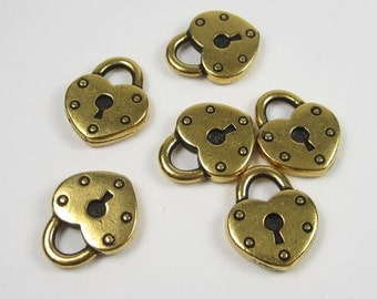 6 Gold Tierracast Heart Lock Charms