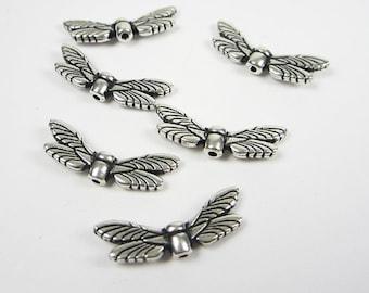 6 Silver Tierracast Dragonfly Wings