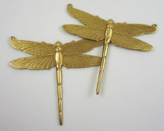 2 Natural Brass Stamped Dragonfly Pendants