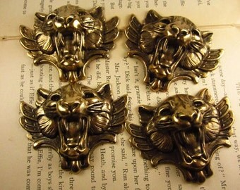 4 Brass Oxide Stamped Snarling Cats