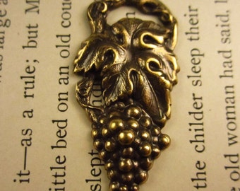 Brass Oxide Stamped Grape Cluster Charm