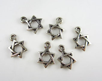 6 Silver Tierracast Small Star of David Charms
