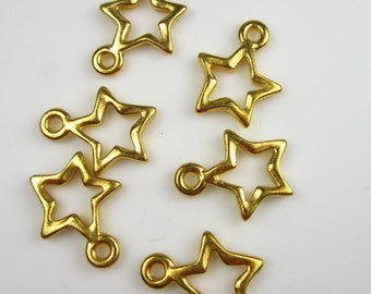 6 Gold Tierracast Star Charms