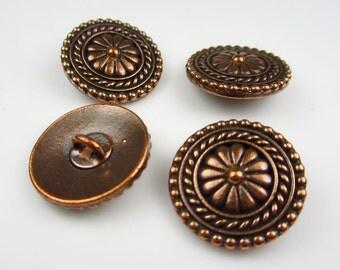 4 Tierracast Antique Copper Bali Buttons