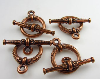 4 Antique Copper Tierracast Heirloom Toggle sets