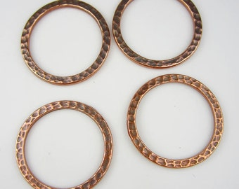 4 Antique Copper Tierracast 1Inch Hammertone Rings