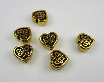 20 Gold Tierracast Heart Celtic Beads