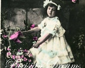 Vintage / Antique French  Postcard  Girl in Lace Dress with Flowers