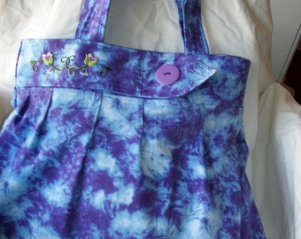 Blue and purple tie dyed purse