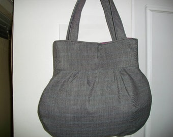 Executive Suit Grey  Purse with plum lining