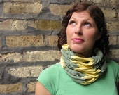 Up-cycled T-shirt Scarf-- sage green and yellow, infinity, spring & fall