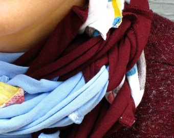 SALE- upcycled tshirt scarf- eco friendly- blue red maroon