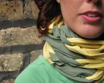 SALE- upcycled tshirt scarf- eco friendly- sage green yellow infinity scarf