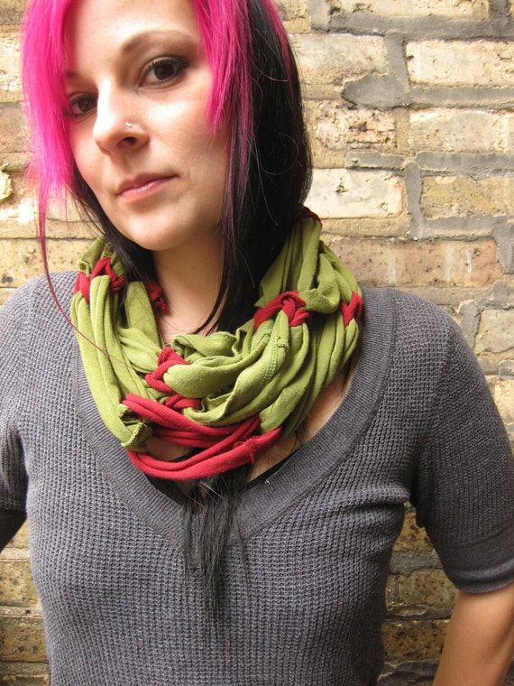upcycled tshirt scarf- sage green and maroon- cherry absinthe