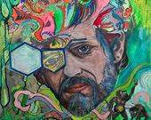 Fractal Hippy - Terence McKenna - Framed Print