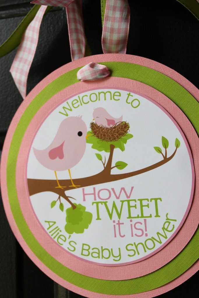 baby bird and mama themed baby shower welcome sign