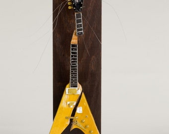 Lenny Kravitz Smashed Miniature Electric Guitar Sculpture