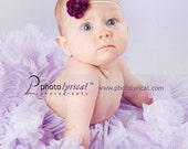 Tiny Purple Flower on  thin skinny white elastic headband. Newborn to Adult Perfect for PHOTOGRAPHY PROPS
