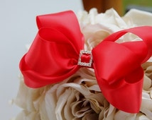 Boutique Baby Toddler Girl Red Satin Bow with Swarvoski Diamond Broch in the Middle