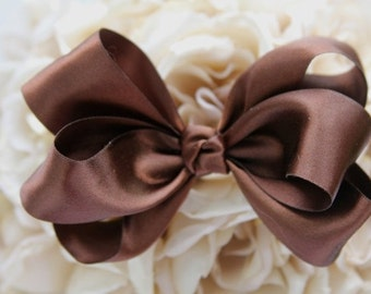 Brown Deluxe Satin Hair Bow. Great for any special occasion.