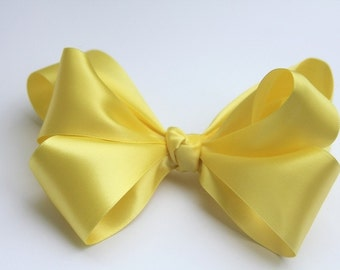 Yellow Satin Boutique Bow for all Special Occassions, Wedding, Photo Props and so many more