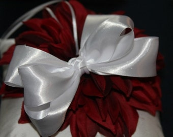 White Satin Boutiqu Bow Perfect for Special Occassions Holidays and Photo Props