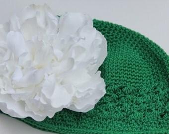 Green Beanie Hat, White Peony Hair Flower
