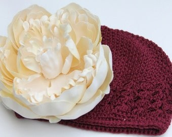 Burgandy Beanie Hat embelished with a Large Silk Flower - NEWBORN, BABY, INFANT, TODDLER, CHILD, TEEN sizes available
