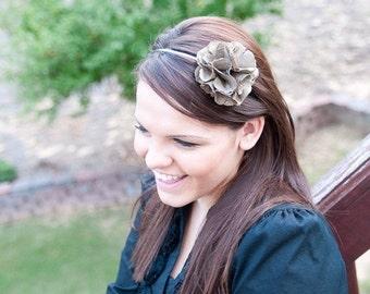 Green Satin Hand cut and Sewn Flower on a skinny metal headband