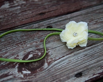 newborn headband, baby headband, Small Yellow Flower, skinny lime green elastic headband, PHOTOTGRAPHY PROP, adult headband