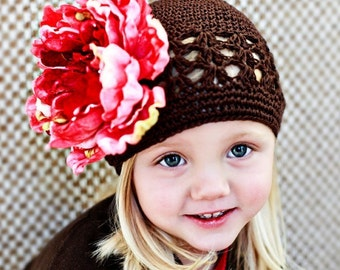 FREE HEADBAND WITH HAT PURCHASE Brown Beanie Hat with a GORGEOUS Pink Peony