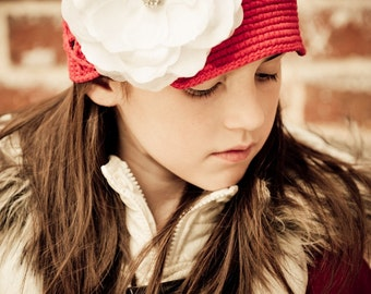 Red Crochet Hat with a White Flower - Available for Toddler to Big Girls, You pick your size