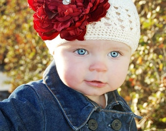Red Large Peony Flower Detachable Clip with a Soft Ivory Crochet Hat YOU CHOOSE your size. Available in Newborn to 8 years old