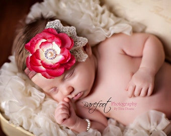 Pink Lace flower headband Pearls Rhinestone in the center on your choice of elastic...Brown/Ivory. Newborns Infants Toddlers Girls Adults