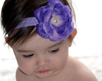 SALE...Purple Flower Headband with Pink Center on a Lavander Elastic. Perfect for NEWBORNS Infants Toddlers Girls Adults
