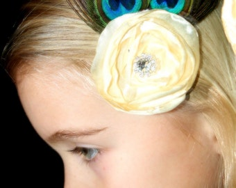 Peacock Feather Hairclip with Ivory Satin Flower