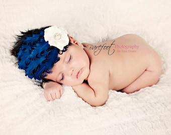newborn feather headband, baby headband with feathers, blue headband