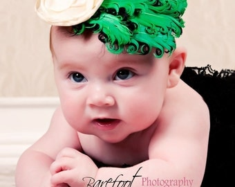baby feather fascinator, Green Feather Headband, newborn feather fascinator headband, photography prop
