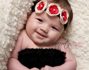 Red and ivory baby Headband, small flower headband, holiday headband, Newborn headband
