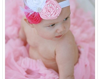 Vintage headband, Rosette Headband, flower girl hair accessories, baptism headband, photo props