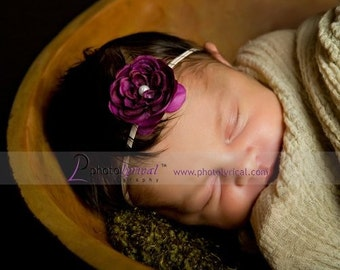 Small Tiny Purple Flower Headband with Pearl on Skinny Thin stretch White Elastic. Newborn Infant Baby Toddler Girl Adult Woman