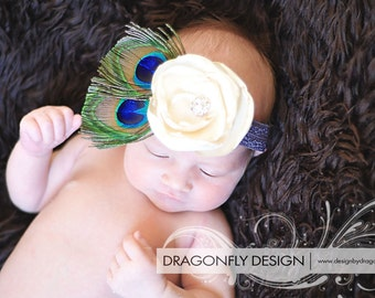 Peacock Feather Headband with Ivory Satin Flower and rhinestone. Blue Green Tan on a Brown Elastic Headband YOU choose size