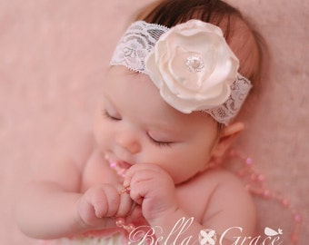 White Lace Headband with satin flower pearls rhinestones Perfect for Photography BAPTISM Christening Dedication