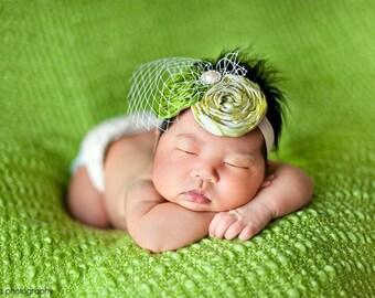 Baby headband, newborn headband, pink headband, green headband, vintage headband, Shabby Chic Headband, infant headband, photography props