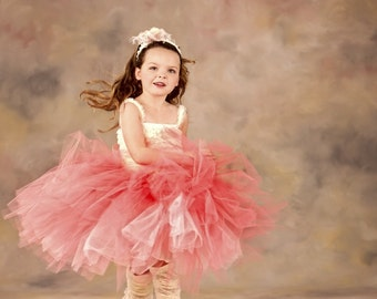 Coral Peach Pink Tulle Tutu Skirt Elegant Chic PHOTOGRAPHY Birthday Spring YOU choose the size