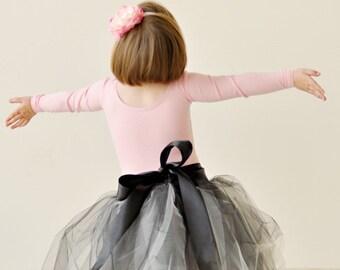 Black and White Tutu Skirt, flower girl dress, black tutu, tulle