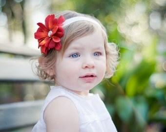 Flower Headband, Coral Red Flower with Rhinestone Center on Off White/ Ivory elastic headband NEWBORN Infant baby toddler girl