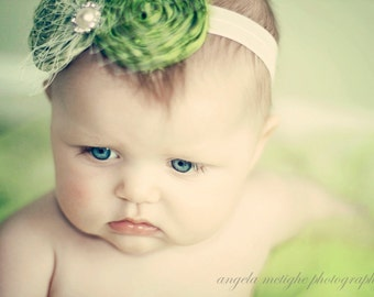 Green Headband, baby headband, newborn headband, apple green headband, holiday headband, French tulle
